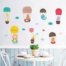 New Design Hot <b>Air Balloon Cute Animals</b> White Cloud Removable ...