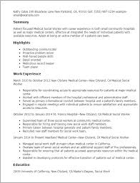 Medical Social Worker Resume Amusing Professional Medical Social