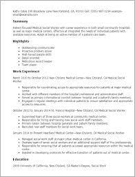 Medical Social Worker Resume Waiter Resume Examples For Letters