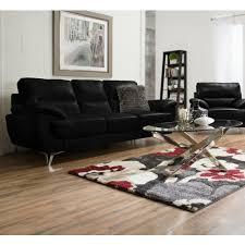 Ernestine Leather-Look Fabric Sofa – Black