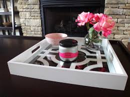 modern square coffee table tray with glass top and painted with