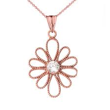 Rose Gold Designer Necklace Details About 10k Rose Gold Designer Milgrain Flower Pendant Necklace