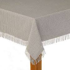 homespun fringed 60 in x 120 in grey 100 cotton tablecloth