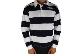 navy white striped rugby shirt morgan wings