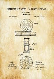 fishing reels patent 1874 patent print wall decor