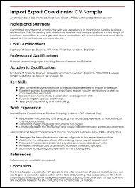 Import Export Coordinator Cv Sample | Myperfectcv