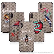 3d embroidery leather case for iphone x 8 7 6s plus fashion stylish mobile phone protective cover skin flower bird bees snake tiger designer cell phone