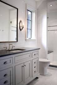 White bathroom cabinets with granite Inexpensive Beautiful Bathroom Features Full Height Subway Tile Backsplash Framing Gray Vanity Sink Topped With Jet Mist Honed Granite Countertop Framing Sink And Pinterest Beautiful White Gray Bathroom Design With White Beadboard White