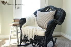 black wicker rocking chair. Delighful Wicker Wicker Rocking Chair By The Wood Grain Cottage With Black E