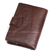 kavis genuine cow leather men wallet coin purse trifold
