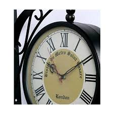 audacious retro sided wall clocks roman numeral design double side two faces metal look country style wood wall clock double sided wall clock india