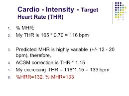 cardio intensity target heart rate thr