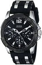 guess watches for men new used guess u0366g1 men s iconic black dial steel silicone strap watch