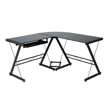 bayside furnishings desk with tempered glass top keyboard