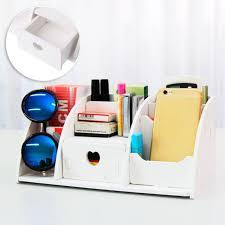 wooden desk makeup organizer storage drawer 6 compartments office supplies