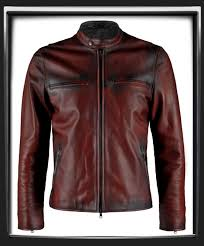 distressed red italian nappa leather with black leather detail this leather jacket was hand crafted mens leather biker