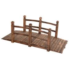 com 5 wooden bridge stained finish decorative solid wood garden pond arch walkway garden outdoor