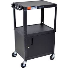 luxor adjustable height steel a v cart with cabinet black