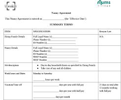 Sample Nanny Agreement Mumsvillage