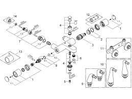 grohe 1000 thermostatic bath shower mixer. grohe grohtherm 1000 thermostatic bath shower mixer (34448 000) spares breakdown diagram t