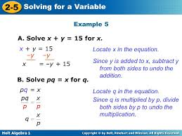 example 5 a solve x y 15 for x x y