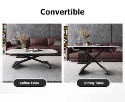 white adjustable height coffee table