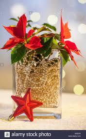 Material Weihnachtsstern Gold Kugel Kette Glas Vase