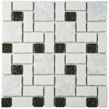 merola tile academy white and black 11 3 4 in x 11 3 4 in x 5 mm porcelain mosaic tile