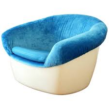 Space Age Furniture One Of A Kind Space Age Lounge Chair In Fiberglass Velvet And