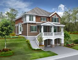 image of nice sloped lot house plans walkout basement