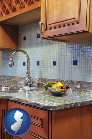a granite countertop with new jersey icon