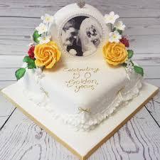 Crafty Cakes Exeter Uk Golden Wedding Anniversary Cake With