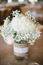 Decorating Jam Jars For Wedding White Hydrangea And Baby's Breath In Mason Jar Wedding Centerpiece 63