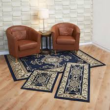 capri piece rug set royal crown navy area round placement contains with matching runner and mat