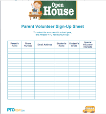 Parent Sign Up Sheet Sign Up Sheet For Open House From Pto Today Back To School Pta