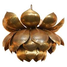 adorable lotus pendant light 1st dibs brass lotus flower chandelier copy cat chic
