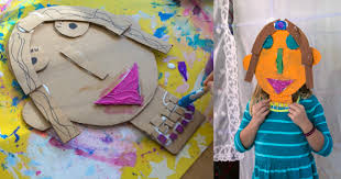 art work for children cardboard portraits