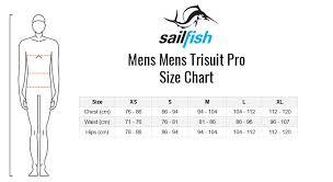 Sailfish Wetsuit Size Chart Sailfish Mens Trisuit Pro