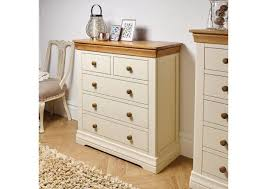 Farmhouse Country Oak Cream Painted 2 Over 3 Chest Of Drawers