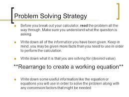 chapter problem solving in chemistry methods of solving 10 problem solving