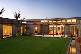 Contemporary Single Story Home   Walkout Basement   Superb Wood    Contemporary Single Story Home   Walkout Basement   Superb Wood House Design With Beautiful Center Courtyard And Glass Windows And Glass Doors