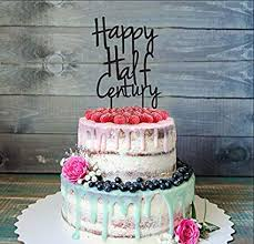 Amazoncom Fiftieth 50th Birthday Cake Topper Happy Half Century