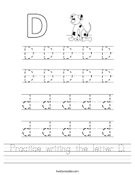 Practice Writing Letters Practice Writing The Letter D Worksheet Twisty Noodle