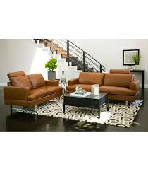 brown leather living room furniture. Edison Top Grain Leather Set Brown Living Room Furniture T