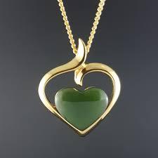 jade pendant elegant heart in gold vermeil pic 1