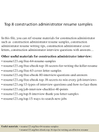 top 8 construction administrator resume samples in this file you can ref resume materials for construction administrative assistant resume