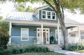 Light Blue Houses With White Trim Blue House With White Trim And Gray Metal Roof Farm House
