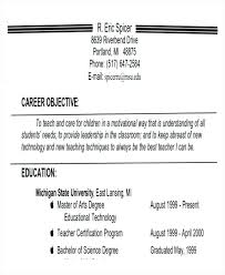 Objective For Resume Teacher Best of Good Career Objectives Objective Sample For Teachers Lines Resume