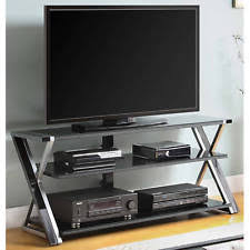 Black TV Stand For 65 Inch Flat Panel LCD Tempered Glass Shelves Mesa De  Black Tv Stand 596