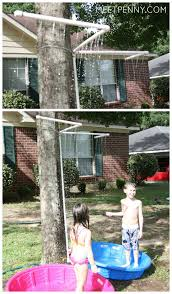 inexpensive way to keep the kids cool with a pvc kid wash tied to a